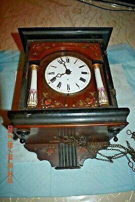 ANTIQUE CUCKOO clock WALL CLOCK WOODEN PLATES CLOCK BEHA??? for parts 2