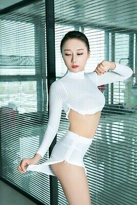 Sexy Damen Rollenspiel Set Cosplay Kleidung Rock Anzüge Glanz Gestreift Kostüme 5
