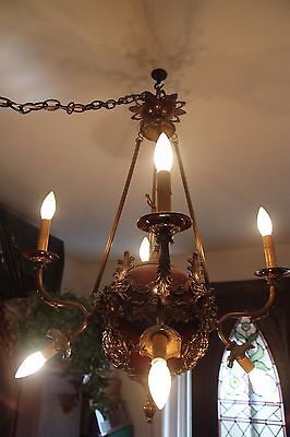 Vintage Brass/Bronze Spherical Chandelier Cherub/Masks/Stars 2