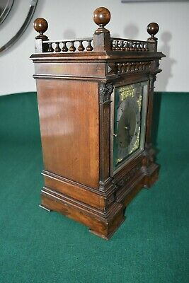 Lovely Antique Winterhalder & Hofmeier Bracket Clock [Oak Cased] 6