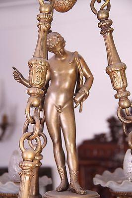 Vintage Italian Bronze Fantasy Centaur Castle Chandelier 6