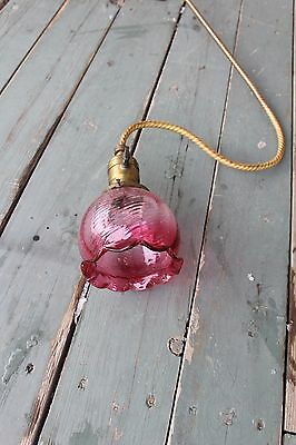 Antique Victorian Ceiling Ornate Light Fixture   Cranberry Ruffle Swirl Shade 2