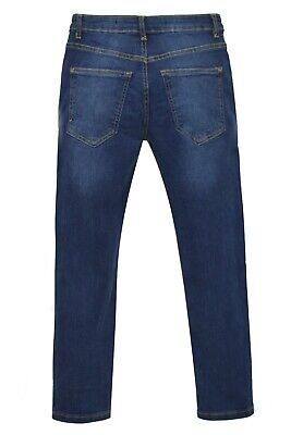 NEW Boys Kids Stretch Jeans Denim Skinny FIT Pants Trousers Age 7-13 Years BLUE 4