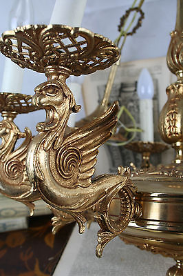 Unusual Gothic DRAGON Brass chandelier France 1920 chimaera rare special 4