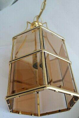 Swedish Rare ceiling vintage brass  faceted smoke glass VINTAGE  LAMP Mark Slöjd 7