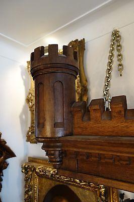19C English Gothic Carved Oak Castle/Battlement Architectural Fantasy Pediment 9