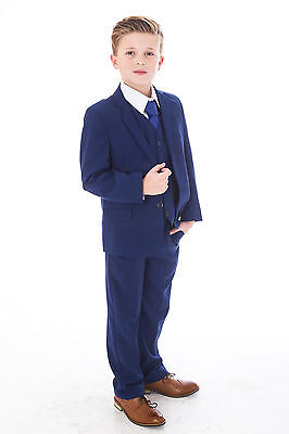 Boys Blue Suits Royal Blue Suit Navy Formal Wedding PageBoy Party Prom 5pc Suit 5