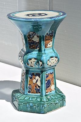 "20"" Antique Chinese Flambe Drip Glaze Pottery Turquoise Porcelain Alter Table 12"