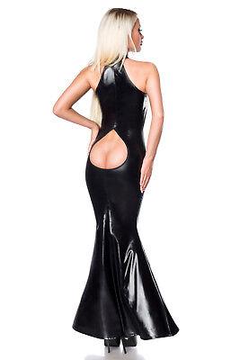 Sexy Wetlook Kleid Abendkleid Ballkleid Lederlook Schwarz Saresia XS S M L XL 2