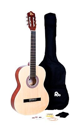 Rio Beginner Adult Student Full Size Acoustic Guitar Pack Starter Package Outfit 8