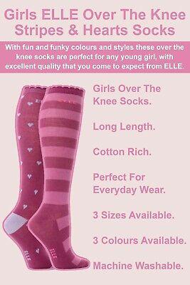 ELLE - 2 Pack Girls Cotton Knee High Long Socks   Striped & Hearts Style 2