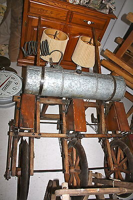 Rare Antique Wooden 3 Row Planter/Seeder w/ Copper Harrows & Galvanized Tank 2
