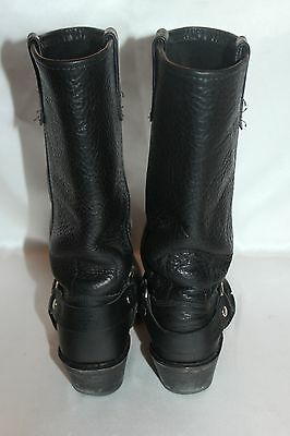 DOUBLE H Boot Company Black Leather Harness Square Toe Western Cowboy Boots 6.5 7