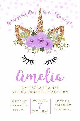 10 personalised unicorn invitations or thank you cards birthday 6 of 12 10 personalised unicorn invitations or thank you cards birthday party stopboris Choice Image