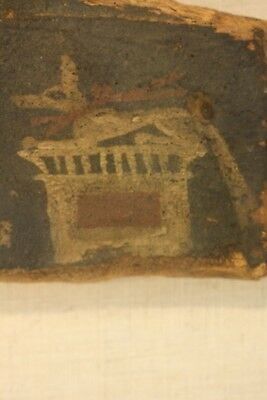 Antique Ancient Egyptian Painted Saite Period 800-400 B.C. Wooden Fragment 3