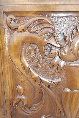 French Antique Pair Carved Wood Cupboard Door Panel Gothic Chimera Griffins 4