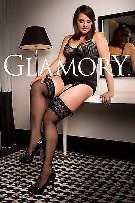 Glamory Luxury 20 Straps-Strümpfe bis Plus Große Größe 62 ein-/ zweifarbig 50137 2 • EUR 16,95
