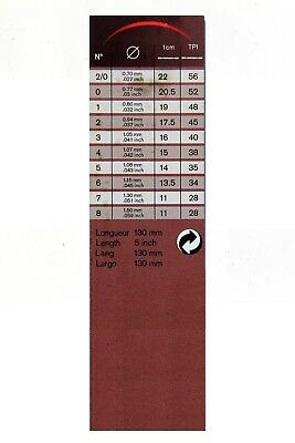"""Pack of 12 pcs Made in Germany Scroll saw blade 5""""//130mm JH ELFE 58 #2//0-12"""