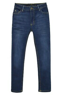 NEW Boys Kids Stretch Jeans Denim Skinny FIT Pants Trousers Age 7-13 Years BLUE 2
