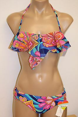 NWT Raisins Swimsuit Bikini 2pc set Sz XL Macrame Bra Blue