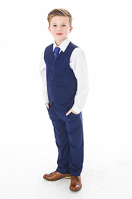 Boys Blue Suits Royal Blue Suit Navy Formal Wedding PageBoy Party Prom 5pc Suit 7