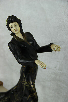 XL ART DECO 1930 french elegance lady statue marble onyx base spelter ivorine 4