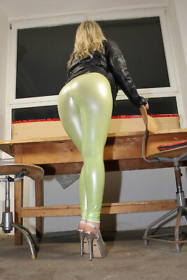 TRIALLAB TRANSPARENT LucidRubber CAMELTOE  Leggings HL2AX  - Lime Green/Weiß - S