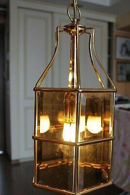 Swedish Rare ceiling vintage brass  faceted smoke glass VINTAGE  LAMP Mark Slöjd 2