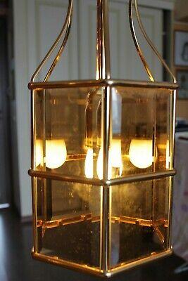 Swedish Rare ceiling vintage brass  faceted smoke glass VINTAGE  LAMP Mark Slöjd 12