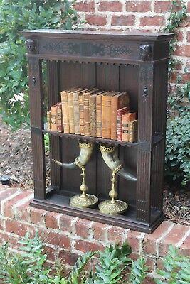 Antique English Oak Renaissance Revival Plate Rack Wall Shelf Display Bookcase