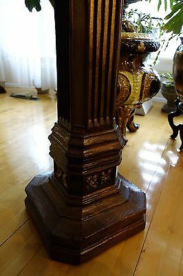 19C English Gothic Carved Oak Gilded Polychrome Pedestal 10