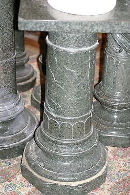 19Th  Century Original Antique  Green Granite Hand Carved  Pedestal Column 3