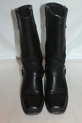 DOUBLE H Boot Company Black Leather Harness Square Toe Western Cowboy Boots 6.5 4
