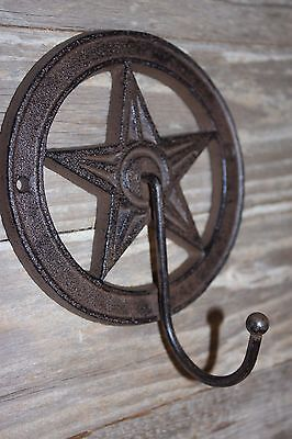 "(4)pcs, RUSTIC DESIGN LONE STAR CAST IRON WALL HOOK, 5 3/8"", TEXAS DECOR,W-11 2"