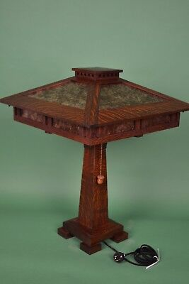 Mission Arts and Crafts Style Quarter Sawn Oak Tall Table Lamp Mica Shade Panels 5