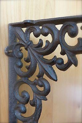 """8 BROWN ANTIQUE-STYLE 9"""" SHELF BRACKETS CAST IRN rustic garden VINE FLEUR DE LIS 4"""