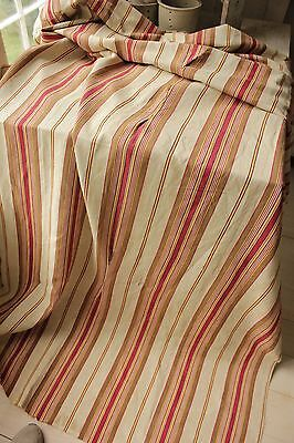 Antique French ticking linen cotton mix woven herringbone weave Vibrant c1880 6