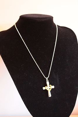 Silver and Gold Plated Cross Pendant Necklace Love Heart Crucifix 3