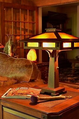 Mission Arts and Crafts Style Quarter Sawn Oak Tall Table Lamp Mica Shade Panels 6