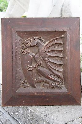 19C English Carved Oak Welsh Winged Dragon Griffin/Gargoyle/Shield 2