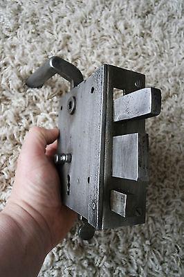 Vintage / antique beautiful large metal door lock with key,handle working order 8