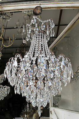 Antique Vnt French HUGE Spider Style Crystal Chandelier Lamp 1940s 18in diametr*