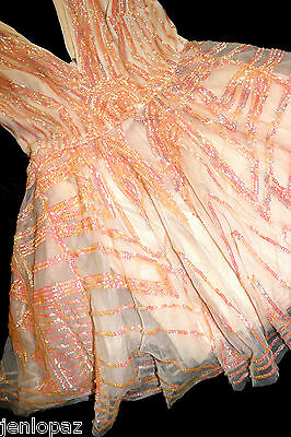 NWT Bebe coral pink sequin double v neck flare sequins mesh top dress S Small 4 3