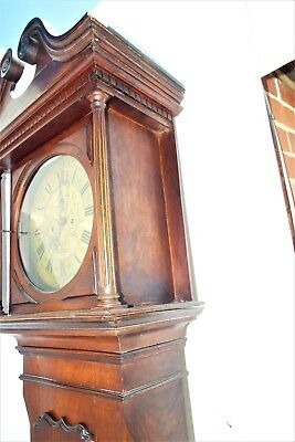 Grandfather Clock brass dial 8 day movement mahogany case. 5