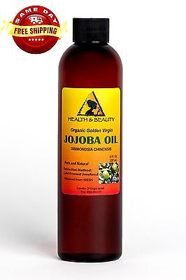 Jojoba Oil Golden Organic Carrier Unrefined Cold Pressed Raw Virgin Pure 8 Oz