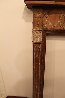 18th Century Adams Fireplace Mantel Carved Wood Basket, Urns, Floral Swags Etc. 6