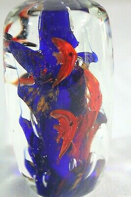 """Art GLASS Paperweight Solid Cylinder 4.5"""" TROPICAL Angel FISH Blue Red CORAL 5"""