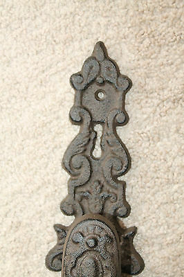 Heavy Cast Iron door Pull handle knob antique finish ornate victorian rustic 4