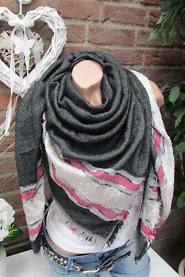 3 sur 9 XXL écharpe rayé franges écharpe Plaid à carreaux étole Poncho noir  gris écharpe 65da034ca71