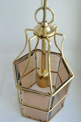 Swedish Rare ceiling vintage brass  faceted smoke glass VINTAGE  LAMP Mark Slöjd 5